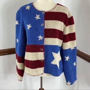 Christopher & Banks flag sweater cardigan XL